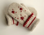Felted Wool Mittens Upcycled Gray Red Crocheted Trim Fleece Lined Medium