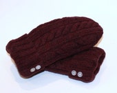 Felted Wool Mittens Lambswool Upcycled Maroon Fleece Lined Medium