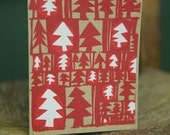 """SALE: Christmas Card """"Trees"""" design hand screenprinted in 2 colours, 3 pack"""