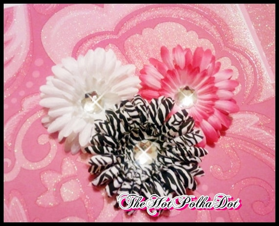 3 Piece Sassy Girl Interchangeable Hair Flower Clips - Hot Pink White and Zebra Print - TheHotPolkaDot