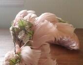 pink feather floral vintage hat