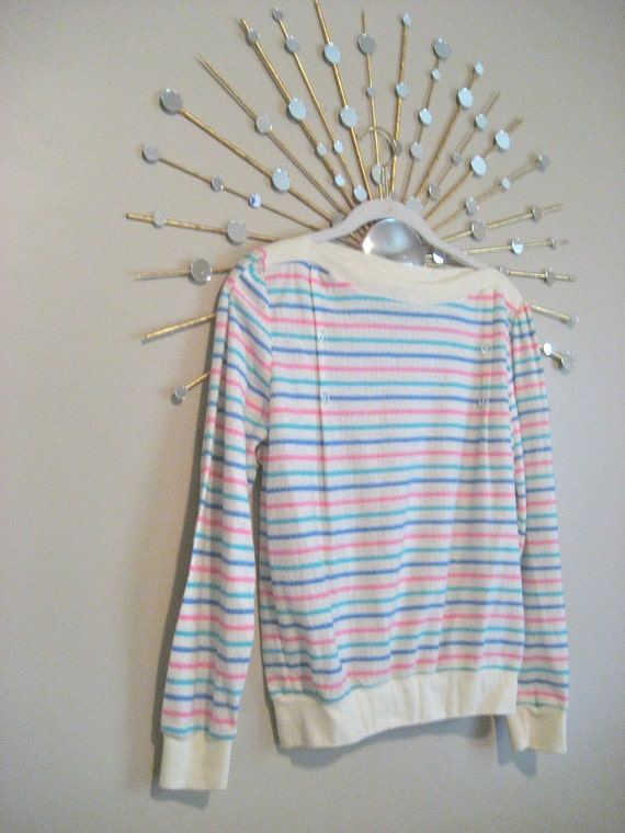 vintage 80s striped pointelle summer sweater