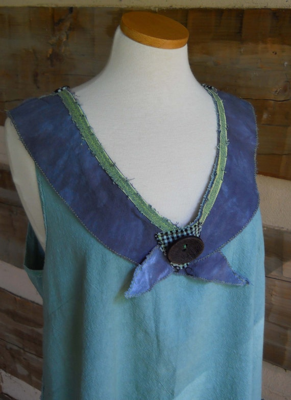 Tapenade Swallowtail Tunic Hand Dyed Gauze Olive Green Women's Size XL