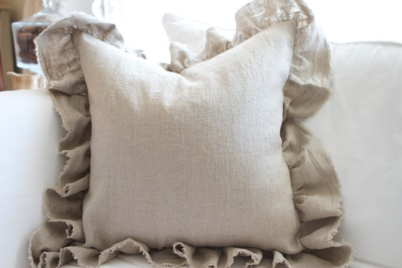 Raw Edge Ruffled Linen Pillow, Flax, White, Cream  DOWN INSERT INCLUDED