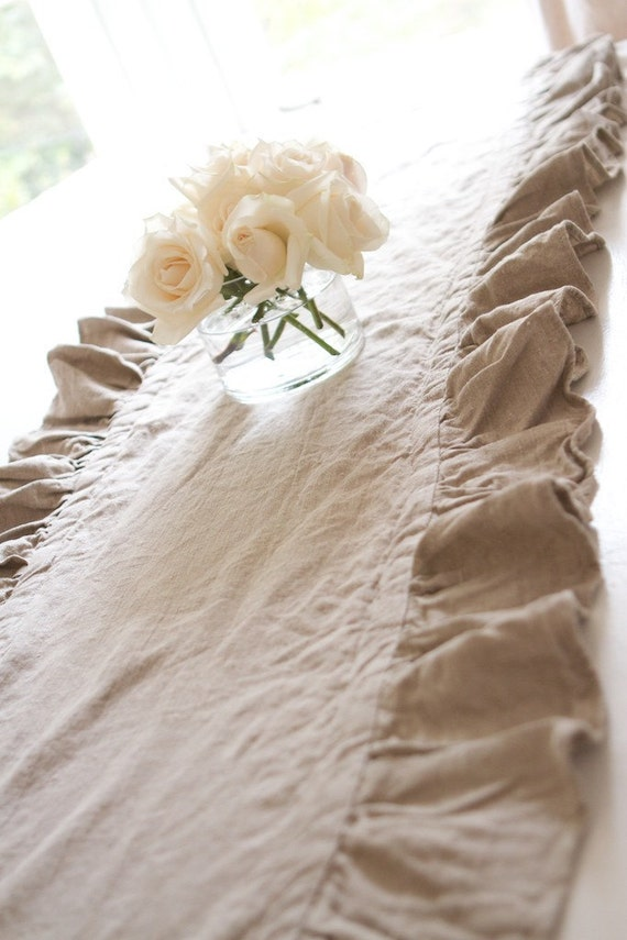 102 inch ruffled flax linen table runner by ruffledlinens