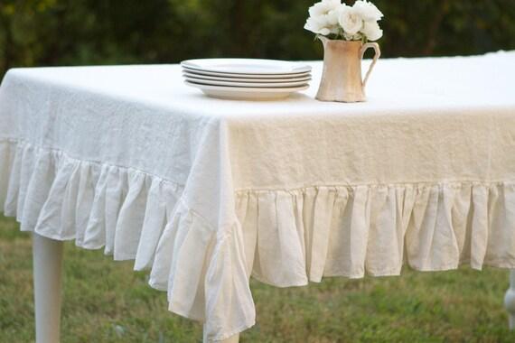 60x104 Cream Ruffled Linen Tablecloth by ruffledlinens on Etsy Ruffled Tablecloth