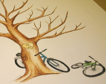 Wedding BICYCLES Thumb Print Guest Book Tree ADD-ON