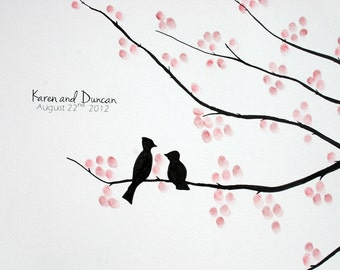 Wedding Guest Book Tree. Original Painting/Illustration- Cherry Blossom Branches 16x20