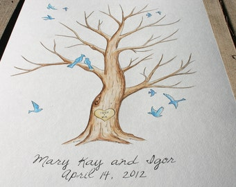 Wedding Thumb Print Guest Book Tree ADD-ON Birds