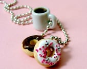 Coffee and Donuts Necklace - Food Jewelry