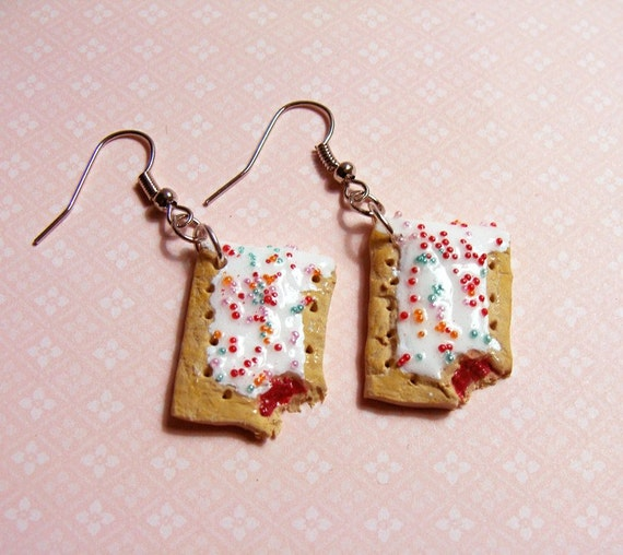 POP TART EARRINGS - Mini Frosted Strawberry Toaster Pastry