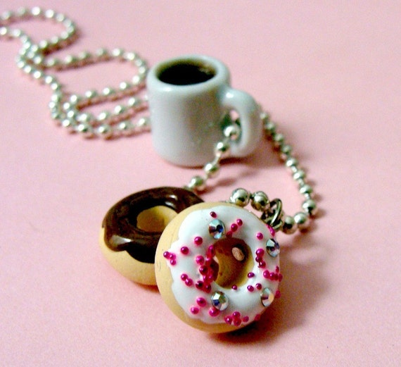 coffee and donuts necklace food jewelry