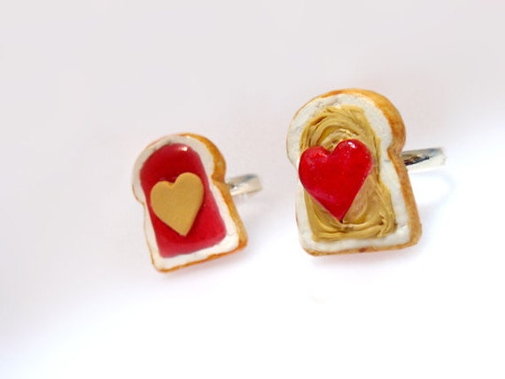 Cute Kawaii Rings - Best Friends Peanut Butter and Jelly Rings - Jewelry Set BFF