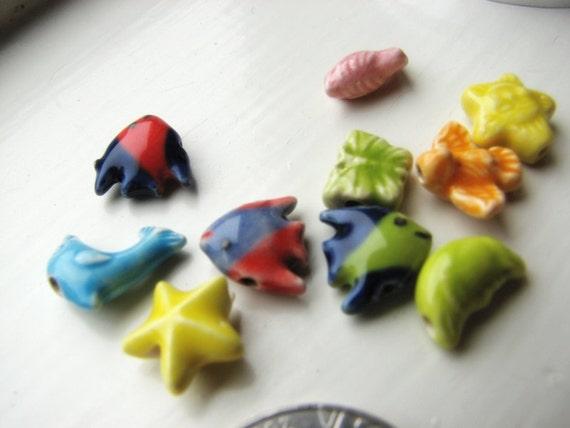 Creature Ceramic Beads Mini Assorted Mixed Lot  10