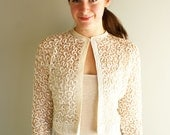 80s does 60s white lace and sequin cardigan shrug bolero coverup