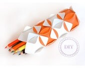 craft set pencil case-white orange DIY KIT put&pull