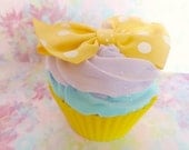 Fake Cupcake Faux Cupcake Yellow Ribbon Polka Dot Cupcake Fake Food Display Cake Paperweight or Cake Stand Decoration