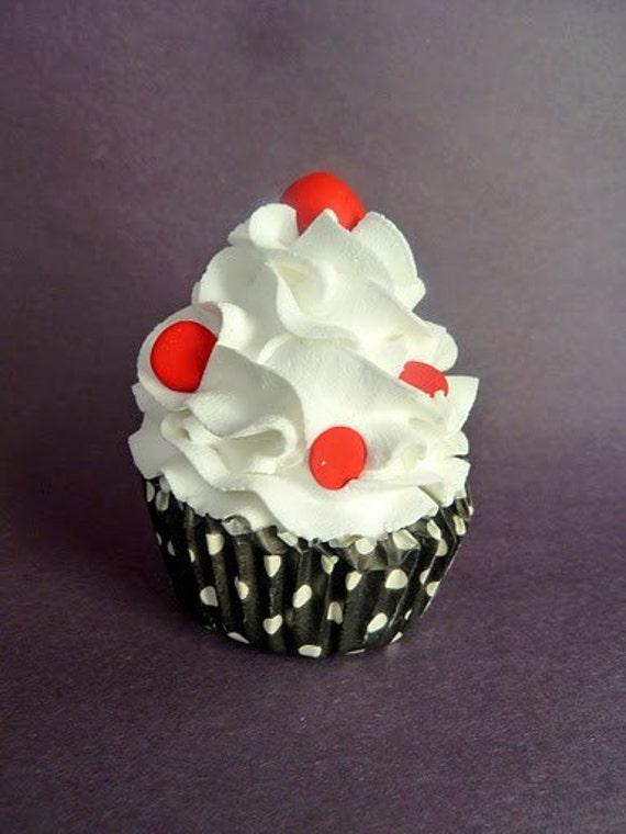 Fake Cupcake Faux Cupcake Black White & Red Polka Dot Fake Food Home Decoration Photo Prop