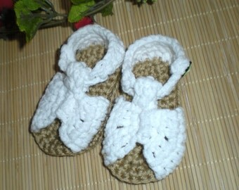 Baby Crocheted Sandals White