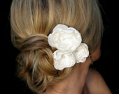 Kate bridal hair flowers, wedding hair flowers,  ivory satin flowers with rhinestone centers, bridal hair accessories