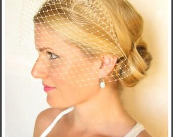 9 inch bridal birdcage veil, blusher veil, bridal hair accessories, wedding veil, veil