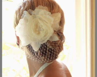 READY TO SHIP Noel - bridal hair accessory,  Ivory silk rose fascinator with birdcage veiling