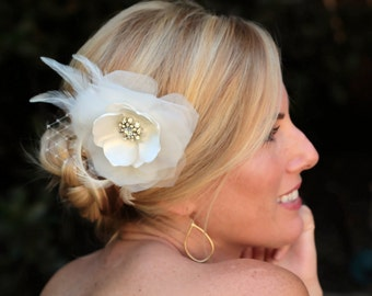 Aria bridal hair flower, bridal fascinator, bridal hair accessories,  Light Ivory Organza and Satin Floral Fascinator