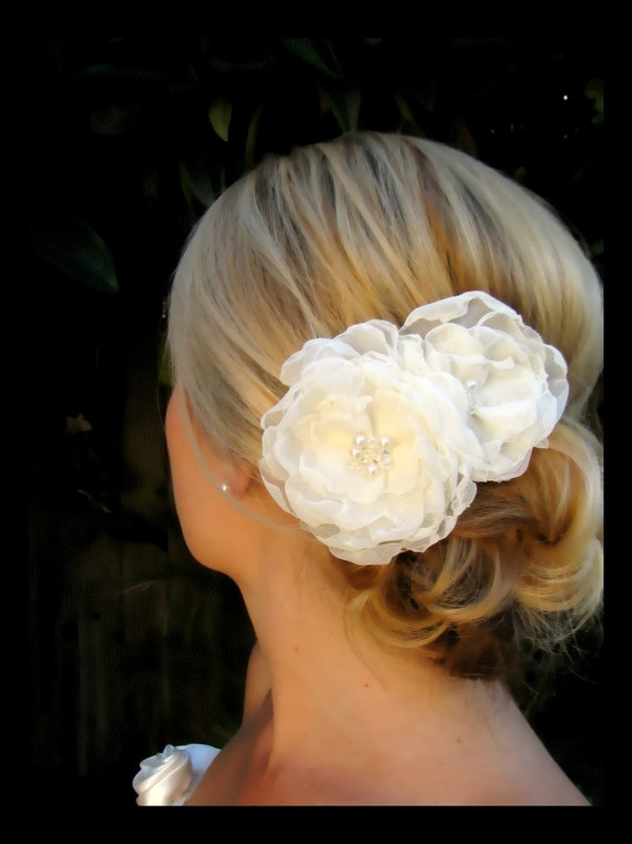 Ophelia bridal wedding hair  flowers with vintage pearl and swarovski crystal centers
