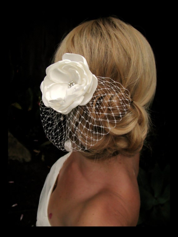 Millie bridal hair flower,  Ivory Satin Floral Fascinator with French / Russian Tulle, bridal hair accessories