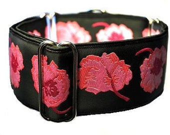Martingale Collar or Buckle Dog Collar - Poppies Jacquard in Pink & Black - 2 Inch, Greyhound Collar, Great Dane Collar, Custom Dog Collar