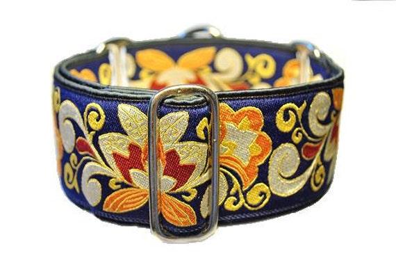 Martingale Collar: Antique Blue Jacquard (2 Inch), Greyhound Collar, Custom Dog Collars, Blue Dog Collar