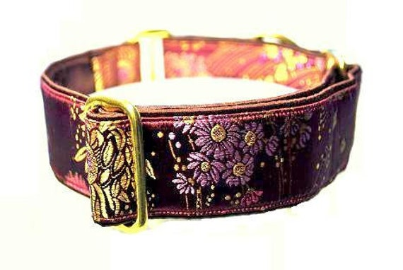 Purple and Gold Brocade Martingale Collar - 1.5 Inch