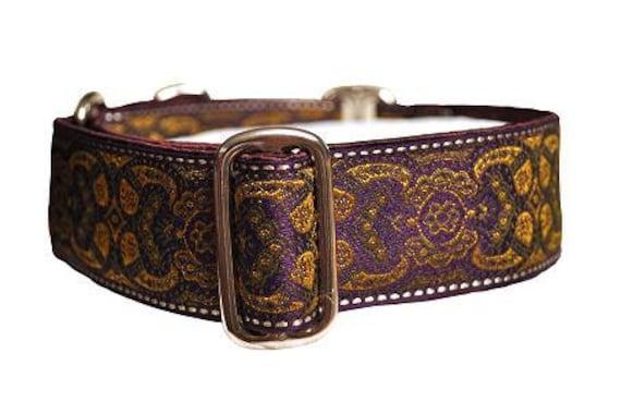 Purple and Mustard Jacquard Martingale Collar - 1.5 Inch