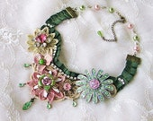 Pink and Green Lace Fabric Assemblage Necklace, Lace Flower Bib Necklace, Spring Flower Statement Necklace, Mixed Media Upcycled Jewlery