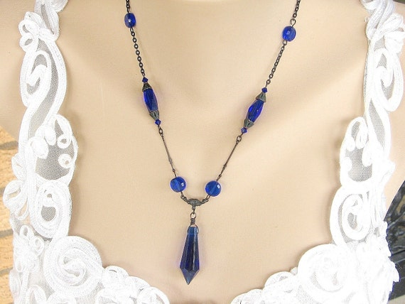 Victorian Pendant - Black Gothic,  Victorian Jewelry, Antique Black Brass, Cobalt Glass Necklace