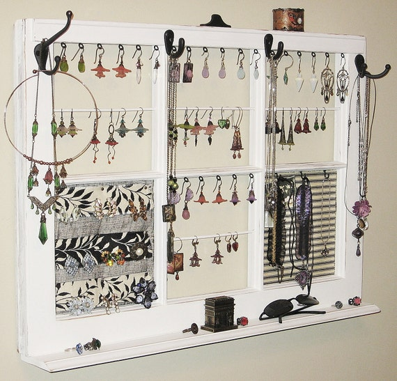 upcycled decor window frame wall hanging jewelry organizer. Black Bedroom Furniture Sets. Home Design Ideas