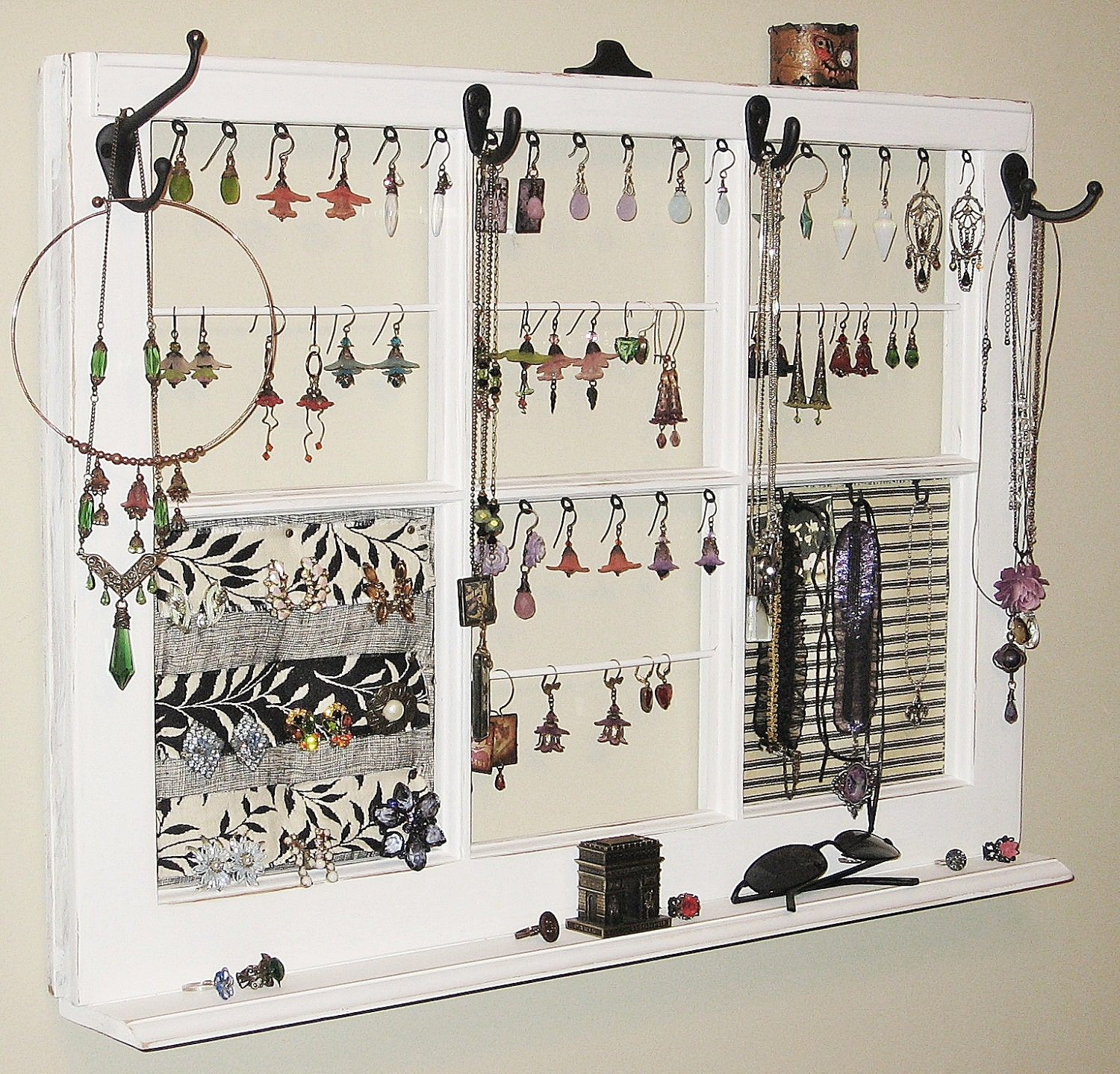 Upcycled Decor Window Frame Wall Hanging Jewelry Organizer - wall hanging photo frames designs