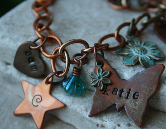 Family hand stamped and personalized copper bracelet with antiqued brass charms chalcedony and czech glass beads