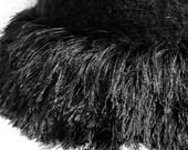 Black Boiled Wool Pill Box Hat
