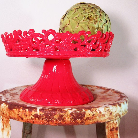 Fire Red Metal Fruit Stand, Cupcakes, Vegtables, or Cake Display from Mateacovintretro