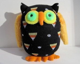 OWL O'WEEN handmade Halloween hooter, upcycled child safe owl