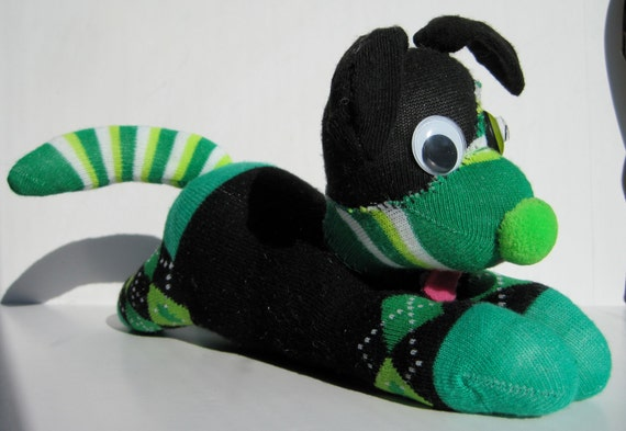 GUINNESS of ARGYLE, fun and feisty pup, repurposed sock in Irish green and black