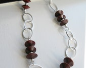 reserved - Abacus - wooden disc and silver loop long necklace