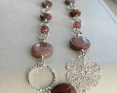 reserved - Magnolia - jasper and flower necklace