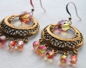 harissa / round brass chandelier earrings with fire polished red-yellow glass / exotic / bohemian / sparkle jewellery