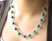 Sugar Snap - malachite-like beads and silver loop necklace