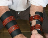 Black with Woodgrain Leather Bracers / Vambraces Game of Thrones inspired Garb