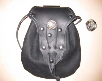 Black Leather Pirate / Biker Belt Bag Sporran with Dragon Concho / Game of Thrones Garb