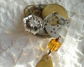 Handmade Steampunk Style Brooch With a Crystal