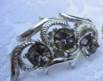 Vintage Sarah Coventry Silver and Black Diamond Rhinestone Clip On Earrings